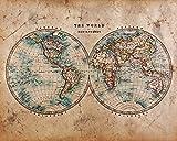 PICSonPAPER Historische Weltkarte aus der Mitte des 18. Jahrhunderts, ungerahmt 40 cm x 50 cm, Dekoration, Kunstdruck, Wandbild, Worldmap, Vintage, Retro, Wandposter (Ungerahmt 40 cm x 50 cm)