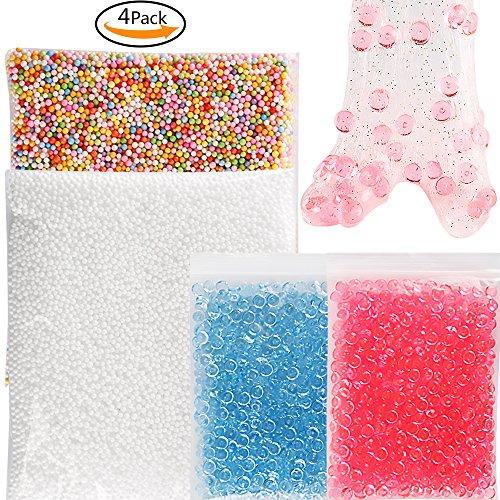 teenitor 4Pack Slime Perlen–2Pack klar Fischglas Perlen für Slime (blau/rot) & 2Pack flauschig Floam Perlen für Crunchy schlamm zu Perlen (unterschiedliche Farbe/Weiß) in schlamm schlamm