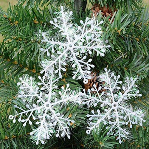 Global Brands Online Decoraciones del árbol de Navidad 3 / 6pcs Copos de Nieve Decoraciones plásticas Blancas de la Nieve de la Navidad plástica