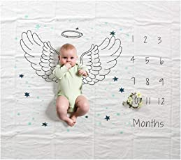 Baby Milestone Blanket Monthly Photo Prop Perfect Baby Shower Gift for New Moms Unisex for Baby Boy and Girl (Wing)