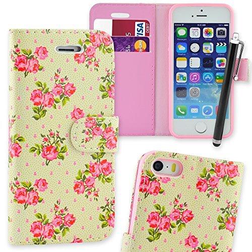 Connect Zone iPhone 5/5G/5S/SE haute qualité PU étui rabat portefeuille cuir Pochette + Protège Écran + Chiffon De Polissage Et Stylet - Rose Rose Imprimé, iPhone 5/5G/5S/SE