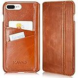 """KAVAJ iPhone 8 Plus iPhone 7 Plus Tasche Leder """"Dallas"""" Cognac-Braun Ledertasche mit Kartenfach für Original Apple iPhone8 Plus aus Echtleder Hülle Case Lederhülle Ledercase Handyhülle Echtledertasche"""