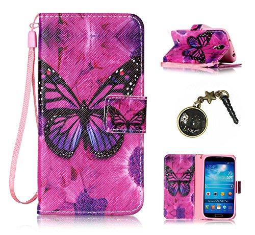 PU Galaxy S4 I9500(5 Zoll) Hülle, Klappetui Flip Cover Echt Leder Tasche für Samsung Galaxy S4 I9500(5 Zoll) Flip Cover Handyhülle Bookstyle mit Magnet Kartenfächer Standfunktion + Staubstecker (1OO)
