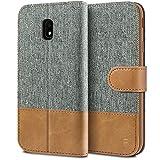 BEZ® Hülle für Samsung J5 2017 Handyhülle, Handytasche Kompatibel für Samsung Galaxy J5 2017 Hülle Schutzhülle Tasche [Stoff und PU Leder] mit Kreditkartenhaltern, Grau