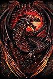 Spiral - Dragon Furnace - Fantasy, Maxi-Poster, Druck, Poster Gemälde Gothic Scull Totenkopf - Größe 61x91,5 cm + 1 Ü-Poster der Grösse 61x91,5cm