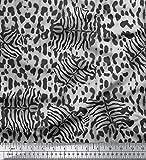 Soimoi Grau Poly Krepp Stoff Leopard & Tiger Tierhaut gedruckt Craft Fabric 1 Meter 42 Zoll breit