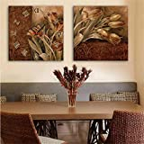 paintings Clocks NAUY-Modern Style Lienzo Pintura Tulipš¢n Reloj de Pared en Lona 2pcs
