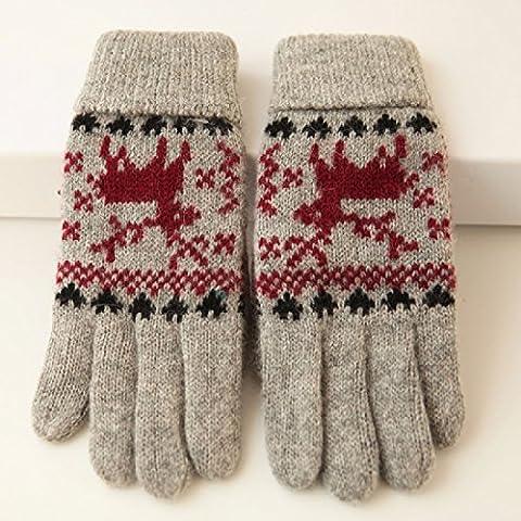 KHSKX Spessore Caldo Natale Moose capretta guanti di lana a