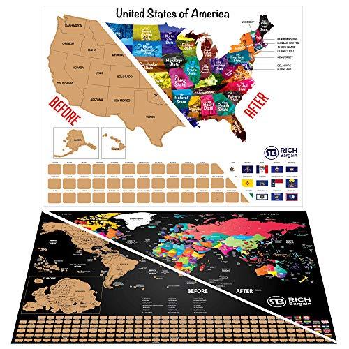 Scratchable World Map - Scratch Off USA Karte für Kinder - Scratch Off Reise-Poster - Personalisierte Reisekarte für Reisende, Deluxe Schwarz & Gold - Scratch US Watercolor Wall Art mit Kratzer. (Usa Reise-karte)