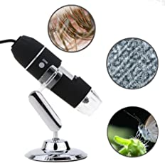 Microware Portable USB Digital Microscope 20x to1000x Magnification 8 LED Mini Camera Magnifier with Stand