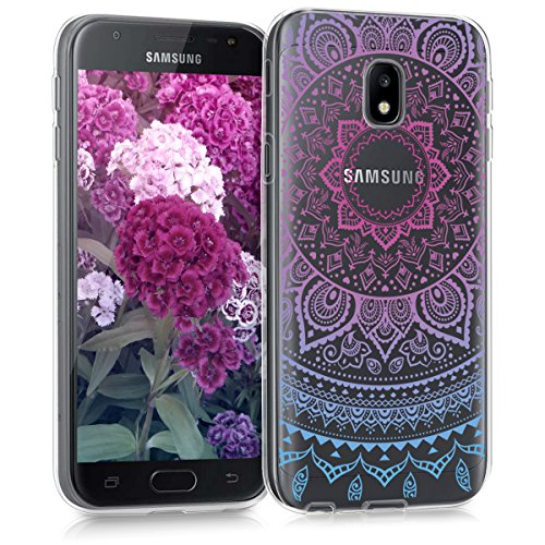 kwmobile Samsung Galaxy J3 (2017) DUOS Hülle - Handyhülle für Samsung Galaxy J3 (2017) DUOS - Handy Case in Blau Pink Transparent