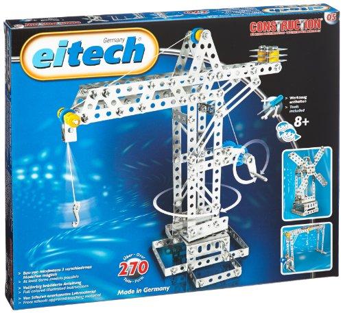 Eitech 00005 - Metallbaukasten - Kran / Hebebrücke / Windmühle Set, 270-teilig