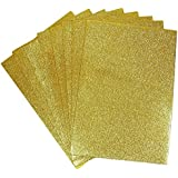 Happy Craft Eva Foam A4 Size Glitter Sheets for Arts and Crafts, Scrapbooking, Paper Decorations (Gold, 10 Pcs)