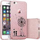 Finoo iPhone 7 Plus Pinke bedruckte Rundum 3 in 1 Glitzer Bling Bling Handy-Hülle | Silikon Schutz-hülle + Glitzer + PP Hülle | Weicher TPU Bumper Case Cover | Pusteblume