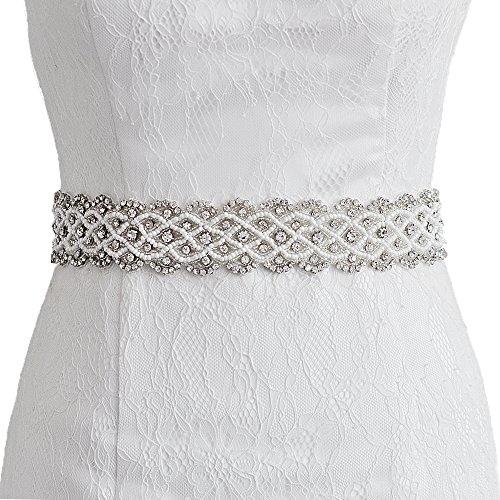 TOPQUEEN lazos de cinturón para novia, diseño de flores, boda Sash para vestido de novia de la mujer amarillo amarillo Talla única