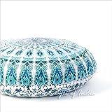 "EYES OF INDIA - 32"" White Blue Mandala Decorative Floor Meditation Pillow Cushion Seating Throw Cover Hippie Bohemian Indian boho dog bed"