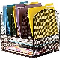VANRA - Organizador de escritorio para carpetas, malla de metal, con 2bandejas para cartas y 6secciones verticales para carpetas, color negro