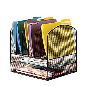 vanra schreibtisch organizer ablagekorb metall gitter design 2 briefablagen und 6 vertikale. Black Bedroom Furniture Sets. Home Design Ideas