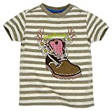 BONDI T-Shirt Gestreift ´Wanderstiefel´, Stripe Braun/Grey-Melange 104 Tracht Baby Jungs Artikel-Nr.91001
