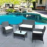 Panana Rattan Garden Furniture 4 Piece Set Set Table Chair Sofa Patio Outdoor Conservatory Indoor