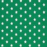 Baumwolljersey kleine Sterne grün — Meterware ab 0,5 m