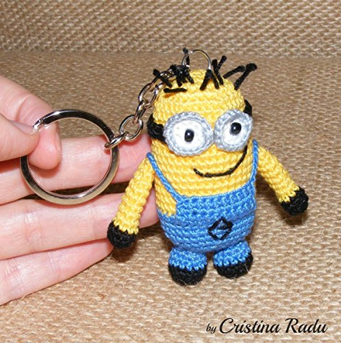 ON SALE Minion toy, keychain gift, miniature minion, collectable gift, amigurumi minion toy, miniature toy, stuffed minion, amigurumi crochet, keychain toy, holiday home decor, two eyes minion