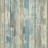 RoomMates RMK9052WP Sticker Papier Peint adhésif Bois Vieilli Bleu Facile à Poser Amovible repositionnable réutilisable 1 Rouleau 5,03x0,52m, Vinyle, Multicolore, 55 x 17 x 8,5 cm