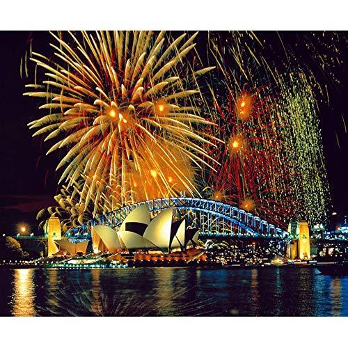 5D Diy Pintura Diamante Kits de punto de Cruz Bordado de Diamantes Imagen de la Ópera de Sydney Cuadro de Diamantes de Diamantes Completo Decoración para el hogar, 20X30 cm