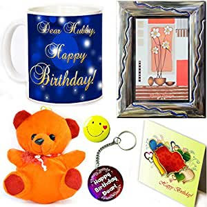 Tohfah4u Happy Birthday Gift Set for Husband;1 Mug, 1 Key Ring, 1 Photo Frame, 1 Greetings Card, 1 Smiley Badge and 1 Teddy Bear