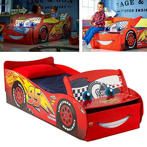 Disney Cars Kinderbett im Autodesign mit beleuchteter Windschutzscheibe - 140x70cm Auto-bett Disney