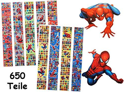 alles-meine.de GmbH 650 TLG. - XXL - Set Sticker / Aufkleber -  Spider-Man  - selbstklebend - für Mädchen + Jungen - Stickerset Kinder - z.B. für Stickeralbum / Stickerbox - St.. -