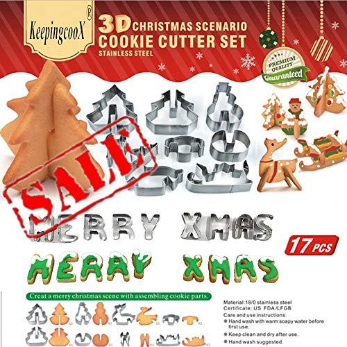 17 PCS - Juego de cortadores de galletas de escenarios navideños en 3D (Árbol, muñeco de nieve, trineo, alces) + Mini cartas de 9 piezas