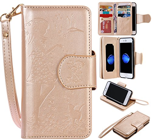 Price comparison product image BONROY® Magnetic Flip Cover for iPhone 7 (4,7 Zoll),Woman and cat theme series Embossing Wallet Case with Hand Strap for iPhone 7 (4,7 Zoll), Premium PU Leather Folio Style Retro PU Leather Wallet Flip with Card Slots and and Stand Function Case Cover for iPhone 7 (4,7 Zoll)
