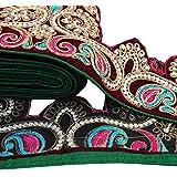 """Cinta de la franja roja Sari floral de la frontera con cuentas 5.5 """"?? ajuste tradicional de ancho por The Yard"""