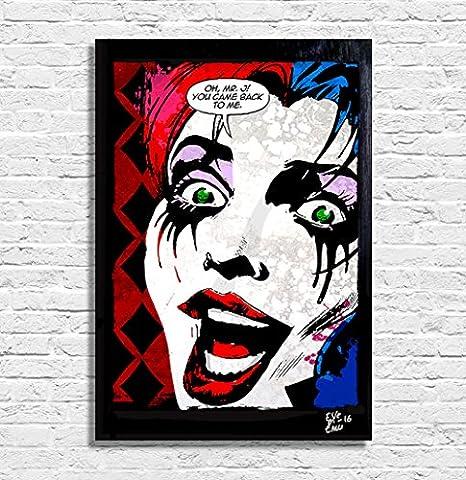 Harley Quinn, Dc Comics - Illustration originale encadrée, peinture, presse artistique, poster, toile imprimée, art contemporain, image sur toile, affiche d'art, bandes dessinées
