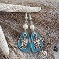 """Fabriqué à la main à Hawaii, boucles d'oreilles en verre de mer bleu turquoise""""Turtle Bay"""", perles d'eau douce, crochets en argent sterling, emballages-cadeaux gratuits"""