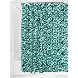 iDesign Medallion Textil Duschvorhang | 183 cm x 183 cm Duschabtrennung für Badewanne und Duschwanne | Vorhang aus Stoff mit verstärkter Oberkante | Polyester aquamarin