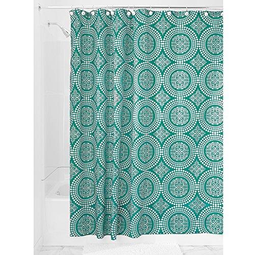 InterDesign Medallion Textil Duschvorhang   183 cm x 183 cm Duschabtrennung für Badewanne und Duschwanne   Vorhang aus Stoff mit verstärkter Oberkante   Polyester aquamarin