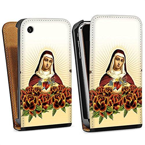 Apple iPhone 4 Housse Étui Silicone Coque Protection Maria Croix Roses Sac Downflip noir