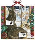 Adventskalender Ivory Cats 1 – mit 24 Stickern – mit Glitzer – mit rotem Stoffband – Format 30 x 30 cm