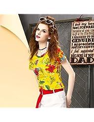 Heart&M Impresión delgado cuello redondo manga corta de las mujeres camiseta tops . 2xl . yellow
