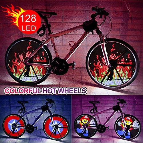 LED Bike Rad Licht Wasserdicht DIY Programmierbare Fahrrad Reifen Spoke Lights mit Batterien Colorful Bike Tire Zubehör für Kinder Erwachsene LED-Rad Licht für 66cm Bike Rad (Kind-fahrrad-reifen)