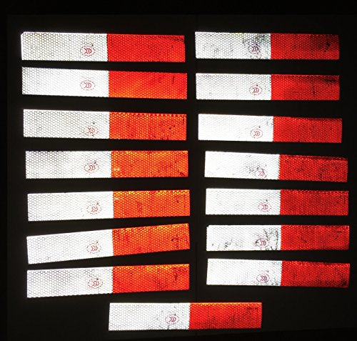 15 piezas REFLECTOR reflectores ETIQUETA 30x5cm autoadhesivo rojo / etiqueta de advertencia BLANCO Reflektier parachoques extra fuerte - esquinas, columnas, vallas, camión, coche, furgoneta - reflectores de seguridad