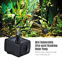 Goolsky Mini Submersible Brushless Water Pump Ultra-quiet Max. Lift 1.5M 200L/H DC 12V for Fish Tank Aquarium Fountain Circulating