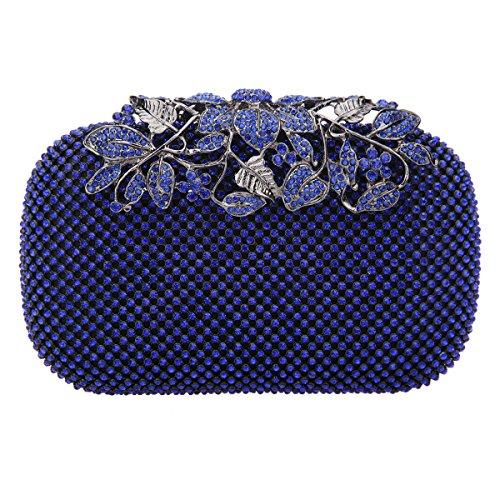 Bonjanvye Flower Purses with Crystal Rhinestones Evening Clutch Bags Red Blue