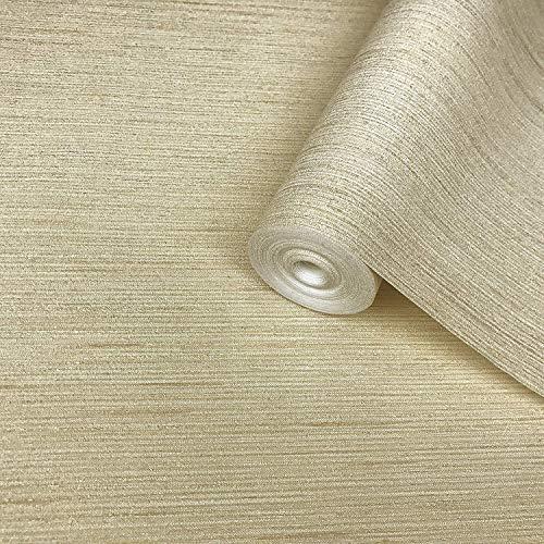 Textured wallcovering Modern Embossed Vinyl Vliestapete Gold Metallic Lines Beige Elfenbein Faux Gestreiftes Tuch Textilmuster Texturen Plain-Überzüge Nur die Wand - Metallic Faux Wallpaper