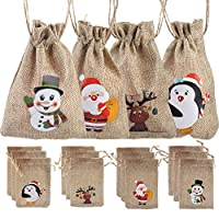 LOKIPA 12 Christmas Jute Burlap Gift Bags Pouches with Drawstring Candy Bags for Christmas Favors