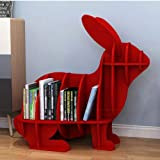SKAFA Book Shelf Bookcase Space-Saving Portable Rabbit Appearance Storage Shelf, Books Holder for Home Decor and Office (Red)