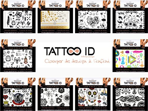 TATTOO ID ASSORTIMENT Tatouages éphémères temporaires hypoallergénique Fabriqué en FRANCE 10 Pochettes contenant 2 planches 240 tattoos environ