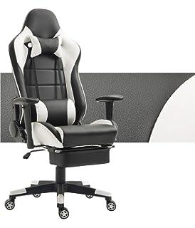 Tiigo Chaise Gamer Fauteuil De Bureau Ordinateur Hauteur Reglable Noir BlancRepose